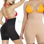 High waist modeling pants for the abdomen beige