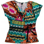 Casual multicolored summer t-shirt with short sleeves